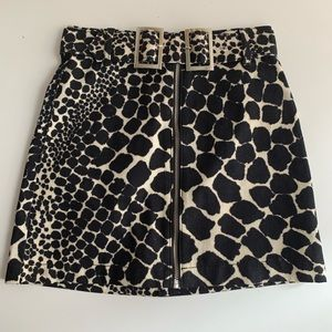 Topshop Denim Animal Print Skirt